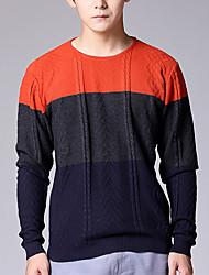 Herren Pullover-Einfarbig Freizeit Baumwolle Lang Blau / Orange