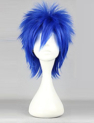 Cosplay Wigs Fairy Tail Mystogan Blue Short Anime Cosplay Wigs 35 CM Heat Resistant Fiber Male
