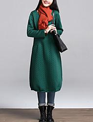 Женский На каждый день Винтаж Свободный силуэт Платье Однотонный,V-образный вырез Средней длины Длинный рукав Синий / Красный / Зеленый