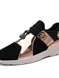Femme-Décontracté-Noir / Argent / Or-Talon Plat-Confort-Sneakers-Tissu