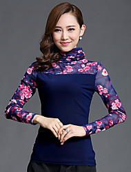 Women's Casual/Daily Simple Fall Blouse,Floral Turtleneck Long Sleeve Blue Nylon Thin