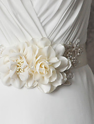 Satin Wedding / Party/ Evening / Dailywear Sash - Appliques / Pearls / Floral / Rhinestone Women's Sashes