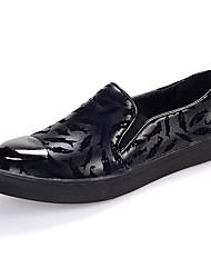 Herren-Flache Schuhe-Lässig-Lackleder-Flacher Absatz Creepers-Komfort-Schwarz Blau