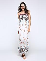Women's Beach Swing Dress,Floral Strapless Maxi Sleeveless White / Black Summer