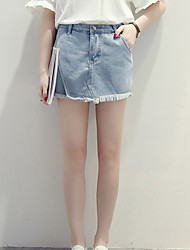 Women's Solid Blue Shorts Pants,Street chic