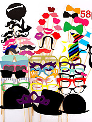 58Pcs/Set Photo Booth Props Glasses Hat Mustache Lip On A Stick Wedding Birthday Party Funny Decoration Diy Picture