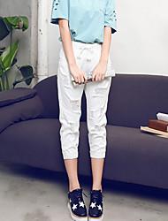 Mulheres Calças Simples Chinos Poliéster Sem Elasticidade Mulheres