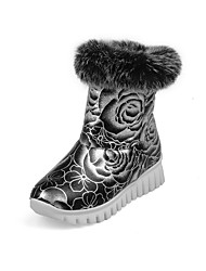 Women's Boots Spring / Fall / Winter Comfort PU Casual Low Heel Fur / Slip-on / Flower Black / Red / Silver Walking