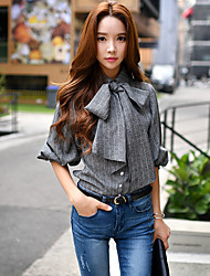 Women's Going out / Casual/Daily / Formal Vintage / Punk & Gothic / Sophisticated Blouse,Striped Shirt Collar ¾ Sleeve
