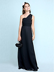 LAN TING BRIDE Floor-length Chiffon Junior Bridesmaid Dress Sheath / Column One Shoulder Natural with Side Draping