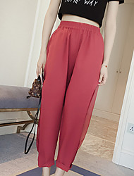 Women's Solid Red / Black Chinos PantsSimple