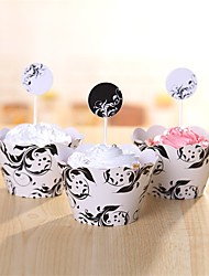 Cupcake Decorations Set 12Pcs(Cupcake Toppers & Cupcake Wrapper Liner) Party Birthday