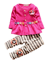 Girl's Casual/Daily Print Clothing Set,Cotton Fall Pink / Red