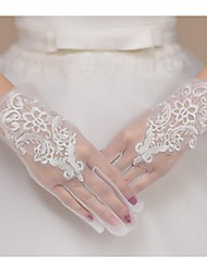 Wrist Length Fingertips Glove Net Bridal Gloves Spring Summer Fall