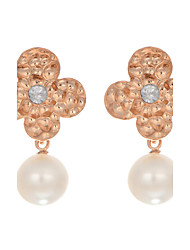 Top Quality New Fashion Korea Jewelry 18K Rose Gold Plated Imitation Pearl Flower Earrings With Rhinestone for Women