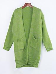 Damen Standard Strickjacke Retro Niedlich Solide Beige Grün Lila Rundhalsausschnitt Langarm Baumwolle Leinen Andere Winter Mittel
