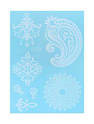 1pc White Temporary Tattoo Flower Pandent Earring Woman Body Art Waterproof Tattoo Sticker WJ011