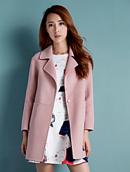 Women's Casual/Daily Simple Coat,Solid Notch Lapel Long Sleeve Winter Blue / Pink / Red Polyester Medium