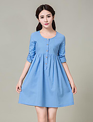 Women's Plus Size / Casual/Daily Street chic Loose Dress,Solid Round Neck Above Knee Long Sleeve