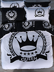Royal Series Bedlinen 100% Cotton Bedding Sets Twin Queen King Size Blcak and White Color  Queen