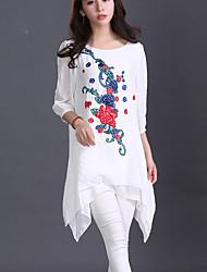 Damen Stickerei Chinoiserie Lässig/Alltäglich T-shirt,Rundhalsausschnitt Herbst Langarm Weiß / Grau Baumwolle / Leinen Mittel