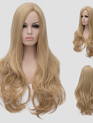 Light golden ringlets, European fashion hot new oblique bangs long curly hair.