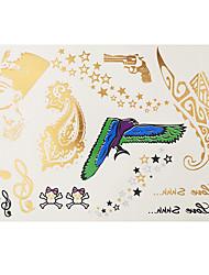 1pc Flash Gold Silver Metallic Temporary Tattoo Pistol Star Skull Pattern Tattoo Sticker GH-10