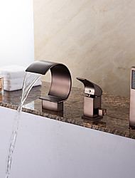 New Roman Waterfall / Handshower Included with Ceramic Valve 1-Handle Three Holes for Oil-rubbed Bronze, Bathtub Faucet