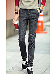 Men's Solid Casual Chinos,Cotton Brown / Gray
