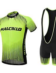 Malciklo Maillot et Cuissard à Bretelles de Cyclisme Homme Manches courtes Vélo Ensemble de VêtementsSéchage rapide Zip frontal