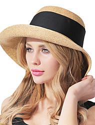 Feminino Casual Palha Verão Chapéu de sol