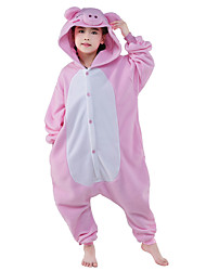 Kigurumi Pajamas New Cosplay® Piggy/Pig Leotard/Onesie Festival/Holiday Animal Sleepwear Halloween Pink Patchwork Flannel Kigurumi For Kid