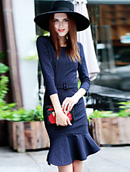 Boutique S Women's Going out Vintage Sheath Dress,Check Round Neck Knee-length ¾ Sleeve Blue Cotton Spring