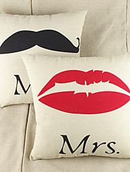 MR&Mrs  Graphic Prints  Cotton/Linen Pillow Cover