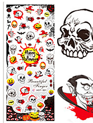 1 pcs Nail Art Water Transfer Halloween Sticker Happy Halloween Skull Hematic Image Nail Beauty HOT301
