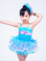 MiDee Children Dance Wear Children Girls Dance Performance Dresses Solo Dance Tutus Ruffled Edged Layers Dress