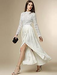 Damen Chiffon Kleid-Ausgehen Street Schick Patchwork Ständer Maxi Langarm Weiß Polyester Herbst Hohe Hüfthöhe Unelastisch