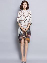 Damen Hülle Kleid-Übergröße Retro Druck Ständer Asymmetrisch ¾-Arm Beige Seide Frühling Mittlere Hüfthöhe Unelastisch