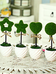 4PCS/Set Home Decoration New Ceramic Vase  Artificial Plants Potted Simulation Flowers Decorated Flocking Flower