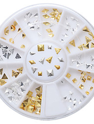 120pcs/Set Japanese Mall Alloy 6 Gold Silver Big Square