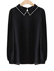 Chemise Aux femmes,Couleur Pleine Décontracté / Quotidien simple Automne Manches Longues Col de Chemise Blanc / Noir Polyester Opaque