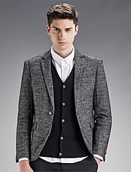 Men's Polka Dot Casual / Work / Formal Blazer,Wool / Rayon Long Sleeve Gray