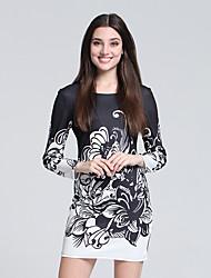 Gaine Robe Femme Soirée / Cocktail Chinoiserie,Fleur Col Arrondi Mini Manches Longues Noir Coton / Polyester Automne Taille Haute