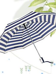Azul / Marrón Paraguas de Doblar Soleado y lluvioso textil Viaje / Lady / Hombre