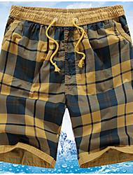 Men's Plaids Casual Shorts,Cotton Blue / Yellow