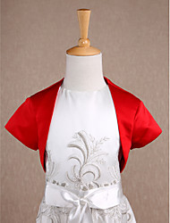 Kids' Wraps Shrugs Short Sleeve Satin Red Wedding / Party/Evening Wide collar Split Front Open Front