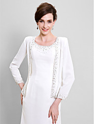 Women's Wrap Coats/Jackets Long Sleeve Chiffon Ivory Wedding / Party/Evening Scoop  Beading Open Front