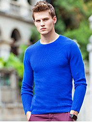 Men's Solid Casual Pullover,Cotton Long Sleeve