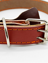 Dog Collar Adjustable/Retractable Brown PU Leather