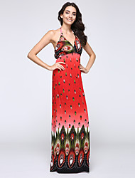 Women's Beach Plus Size / Trumpet/Mermaid Dress,Floral Halter Maxi Sleeveless Blue / Red Spandex Spring